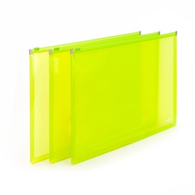 Neon Green Large Zip Folios, Set of 3,Lime Green,hi-res