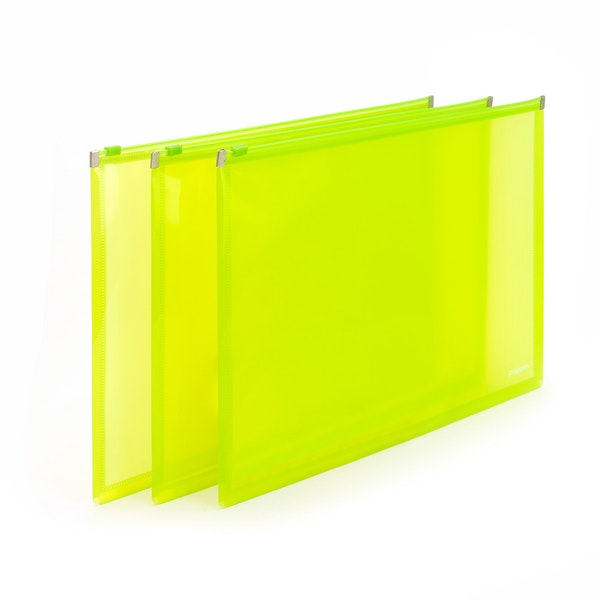 Neon Green Large Zip Folios, Set of 3,Lime Green,hi-res