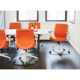 Orange Max Task Chair, High Back, White Frame,Orange,hi-res