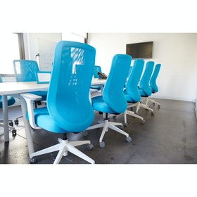 Pool Blue Max Task Chair, High Back, White Frame,Pool Blue,hi-res