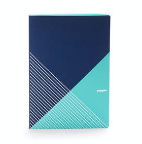 Navy + Aqua Slim Criss-Cross Notebook,Navy,hi-res