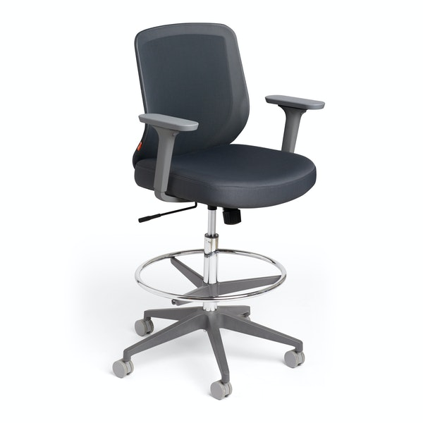 Dark Gray Max Drafting Chair, Mid Back, Charcoal Frame,Dark Gray,hi-res