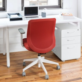 Brick Max Task Chair, Mid Back, White Frame,Brick,hi-res