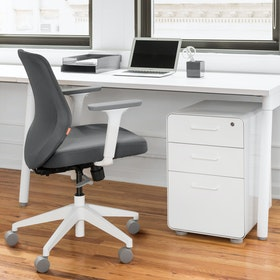 Dark Gray Max Task Chair, Mid Back, White Frame,Dark Gray,hi-res