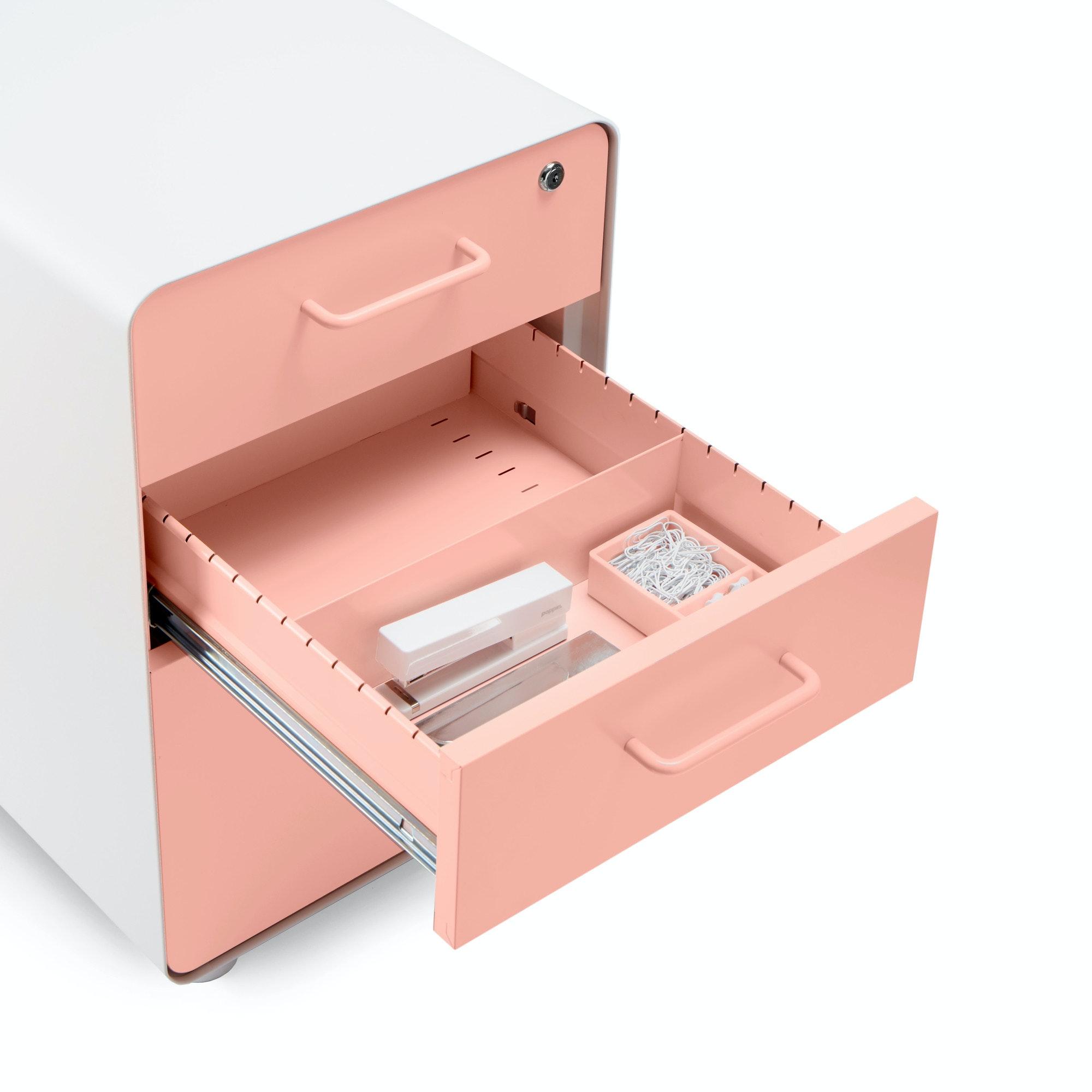 White + Blush Stow 3 Drawer File Cabinet, Rolling,Blush,hi  ...