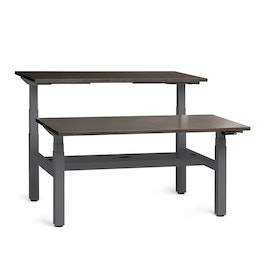 "Loft Adjustable Height Standing Double Desk for 2, Dark Bamboo, 57"", Charcoal Legs,Dark Bamboo,hi-res"