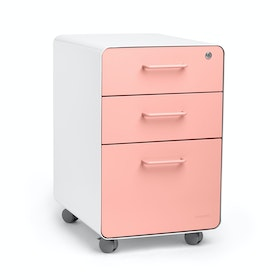 White + Blush Stow 3-Drawer File Cabinet, Rolling,Blush,hi-res