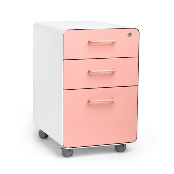 White + Blush Stow 3-Drawer File Cabinet, Rolling,Blush,hi-res