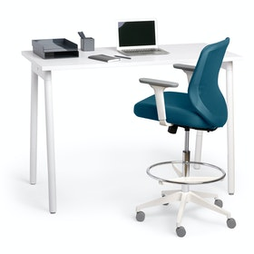 Slate Blue Max Drafting Chair, Mid Back, White Frame,Slate Blue,hi-res