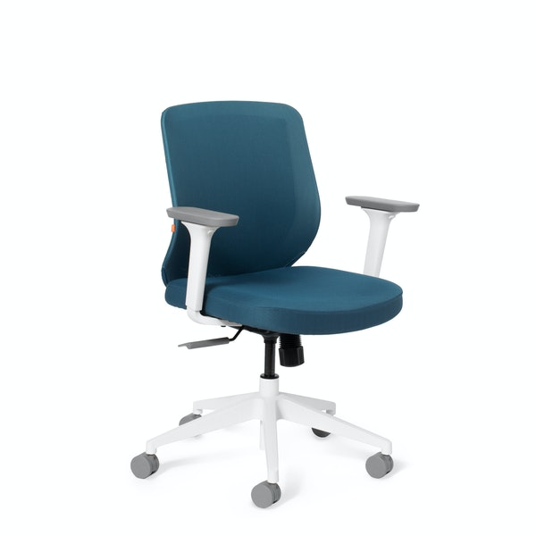 Slate Blue Max Task Chair, Mid Back, White Frame,Slate Blue,hi-res