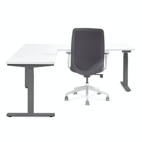 White Loft Adjustable Height L-Shaped Desk with Charcoal Base, Left Handed,,hi-res