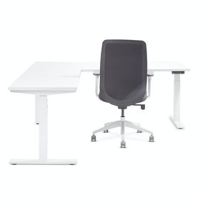 White Loft Adjustable Height L-Shaped Desk with White Base, Left Handed,,hi-res