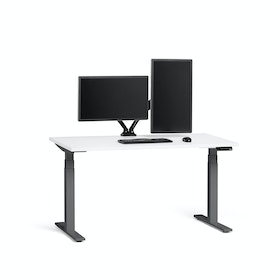 "Loft Adjustable Height Standing Single Desk, White, 57"", Charcoal Legs,White,hi-res"
