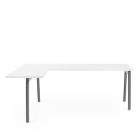 Series A L-Shaped Desk, White with Charcoal Base, Left Handed,,hi-res