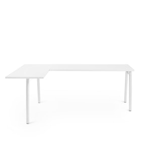 Series A L-Shaped Desk, White with White Base, Left Handed,,hi-res
