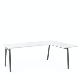 Series A L-Shaped Desk, White with Charcoal Base, Right Handed,,hi-res