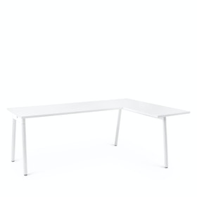 Series A L-Shaped Desk, White with White Base, Right Handed,,hi-res