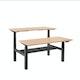 "Series L Adjustable Height Double Desk for 2, Natural Oak, 57"", Charcoal Legs,Natural Oak,hi-res"
