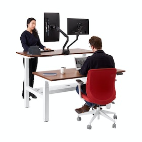 "Series L Adjustable Height Double Desk for 2, Walnut, 57"", White Legs,Walnut,hi-res"