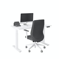 Series L Adjustable Height Single Desk, White Legs,,hi-res