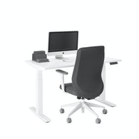 "Series L Adjustable Height Single Desk, White, 47"", White Legs,White,hi-res"