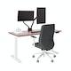 "Series L Adjustable Height Single Desk, Walnut, 57"", White Legs,Walnut,hi-res"