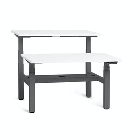 "Series L Adjustable Height Double Desk for 2, White, 57"", Charcoal Legs,White,hi-res"