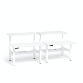 "Series L Adjustable Height Double Desk for 4, White, 57"", White Legs,White,hi-res"