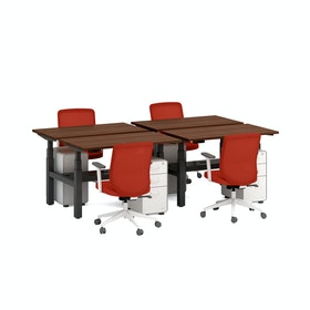 """Series L Adjustable Height Double Desk for 4, Walnut, 47"""", Charcoal Legs"""