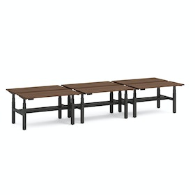 """Series L Adjustable Height Double Desk for 6, Walnut, 47"""", Charcoal Legs"""