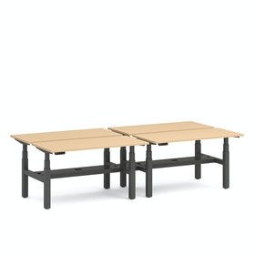 "Series L Adjustable Height Double Desk for 4, Natural Oak, 57"", Charcoal Legs,Natural Oak,hi-res"