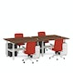 """Series L Adjustable Height Double Desk for 4, Walnut, 57"""", White Legs,Walnut,hi-res"""