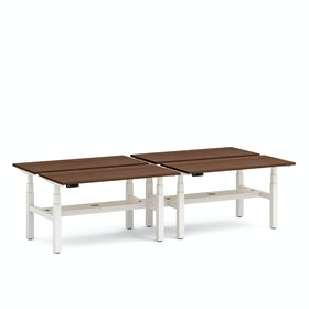 "Series L Adjustable Height Double Desk for 4, Walnut, 57"", White Legs,Walnut,hi-res"