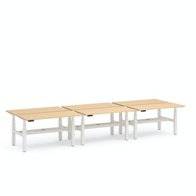 "Series L Adjustable Height Double Desk for 6, Natural Oak, 57"", White Legs,Natural Oak,hi-res"
