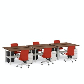 "Series L Adjustable Height Double Desk for 6, Walnut, 57"", White Legs,Walnut,hi-res"