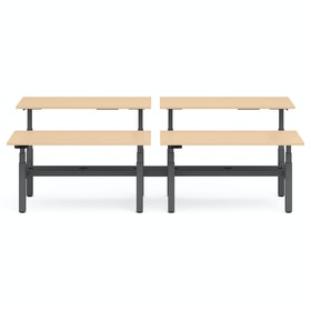"Series L Adjustable Height Double Desk for 4, Natural Oak, 60"", Charcoal Legs"