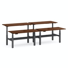 """Series L Adjustable Height Double Desk for 4, Walnut, 60"""", Charcoal Legs"""
