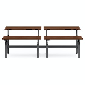 "Series L Adjustable Height Double Desk for 4, Walnut, 60"", Charcoal Legs,Walnut,hi-res"