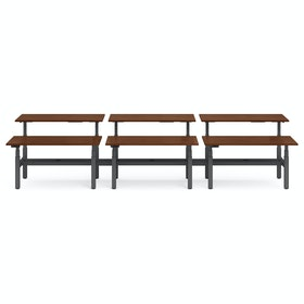 "Series L Adjustable Height Double Desk for 6, Walnut, 60"", Charcoal Legs,Walnut,hi-res"