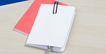 coral and white notebooks