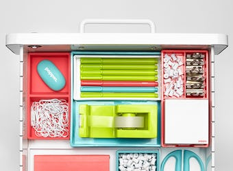 colorful, organized drawer of Poppin products