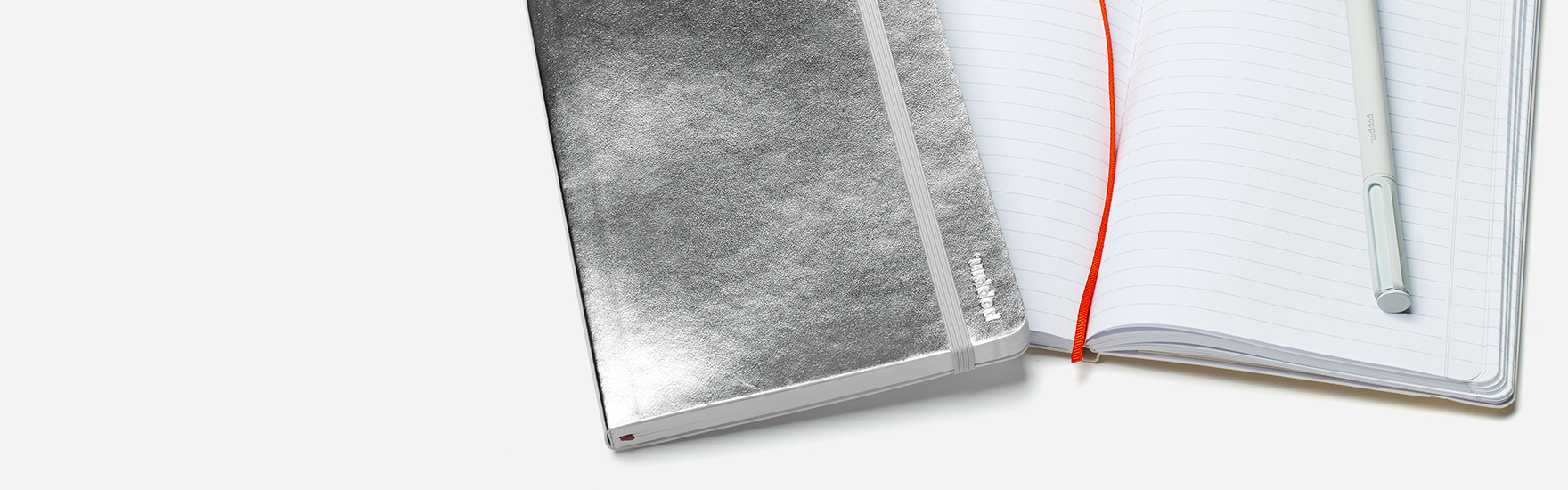 Silver softcover notebook