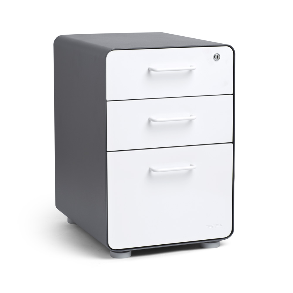 Beau Charcoal + White Stow 3 Drawer File Cabinet,White,hi Res. Loading Zoom