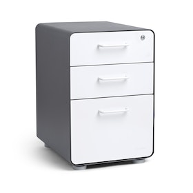 Charcoal + White Stow 3-Drawer File Cabinet,White,hi-res