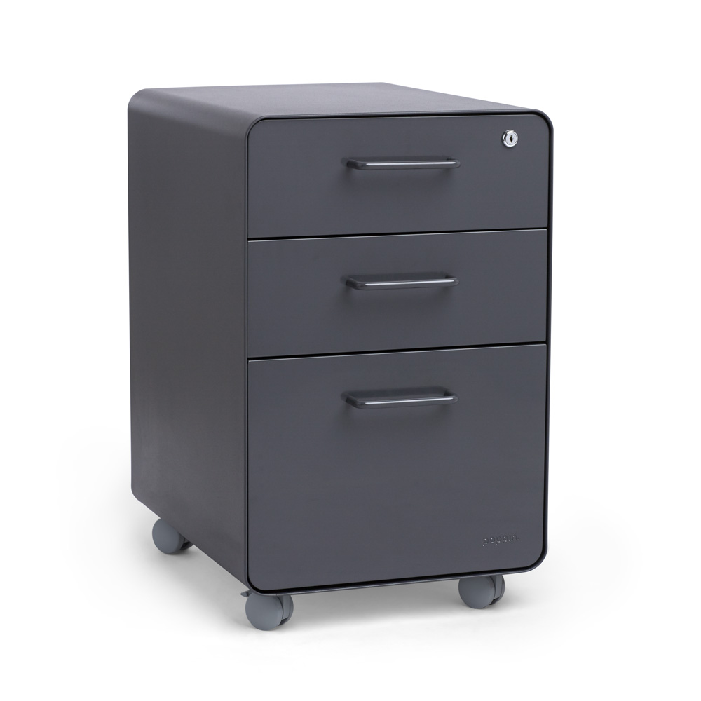 Charcoal Stow 3 Drawer File Cabinet, Rolling,Charcoal,hi Res. Loading Zoom