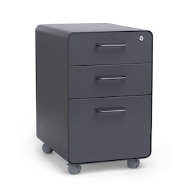 Charcoal Stow 3-Drawer File Cabinet, Rolling