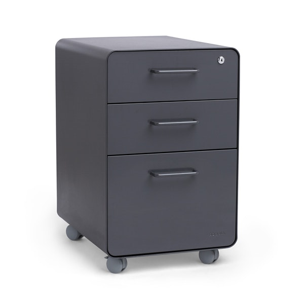 Charcoal Stow 3-Drawer File Cabinet, Rolling,Charcoal,hi-res