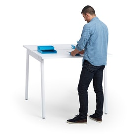 Series A Standing Double Desk for 2, White Legs
