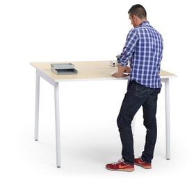 "Series A Standing Double Desk for 2, Light Oak, 57"", White Legs"