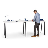 """Series A Standing Single Desk for 2, White, 57"""", Charcoal Legs,White,hi-res"""